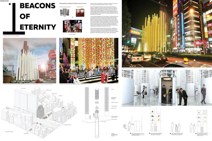 """"""" BEACONS OF ETERNITY """" - Tokyo Vertical Cemetery competition finalist"""
