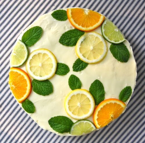 Stella McCartney-Inspired Citrus Cake  (fill layers with lemon curd, if time - Ina Garten Food Network recipe is excellent)