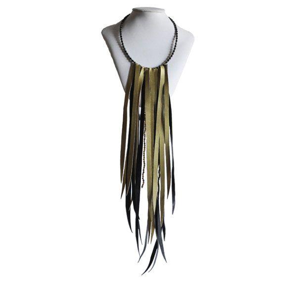 Fringe Leather Necklace 40 € -   Fringe Necklace Jewelry by RiciclAr