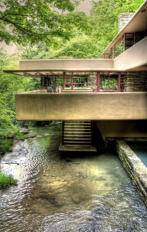 Fallingwater or Kaufmann Residence is a house designed by architect Frank Lloyd Wright in 1935 in rural southwestern Pennsylvania, 43 miles southeast of Pittsburgh.