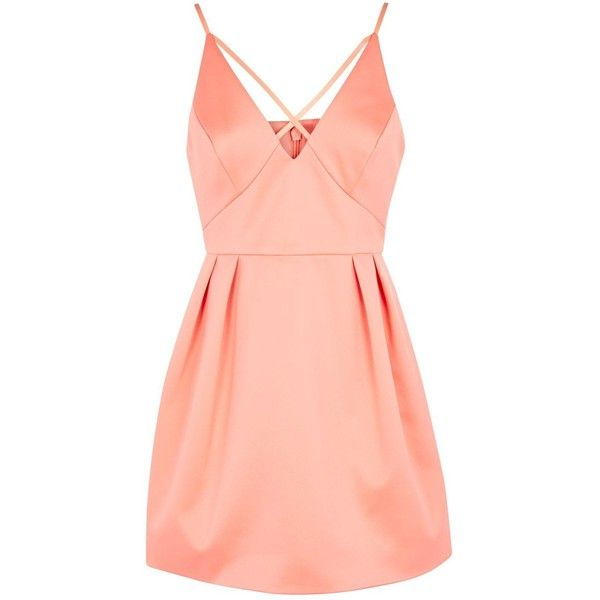 TopShop Petite Cross Front Prom Dress ($55) ❤ liked on Polyvore featuring dresses, coral, petite party dresses, petite formal dresses, petite cocktail dress, red formal dresses and red dress