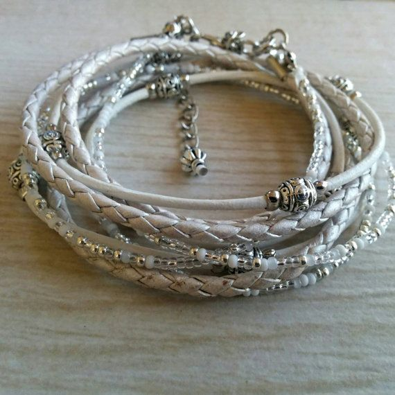 Simple White Leather Wrap Bracelet Braided Leather by DesignsbyNoa