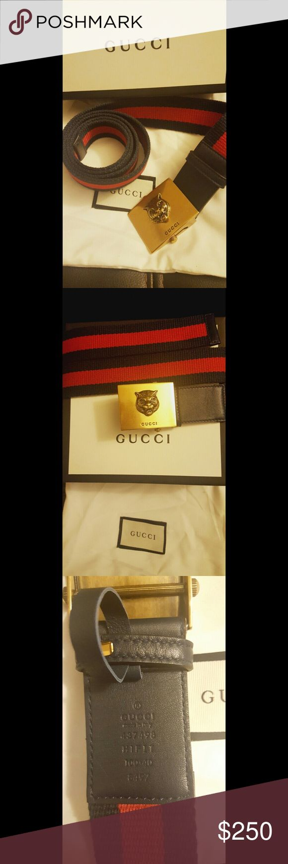 Brand new gucci belt Brand new gucci web leather belt with feline gold buckle blue red blue Gucci Accessories Belts
