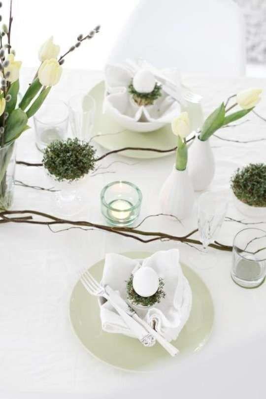 Decorazioni pasquali in bianco - Tavola di Pasqua in bianco Blank Easter decorations - Blank Easter table