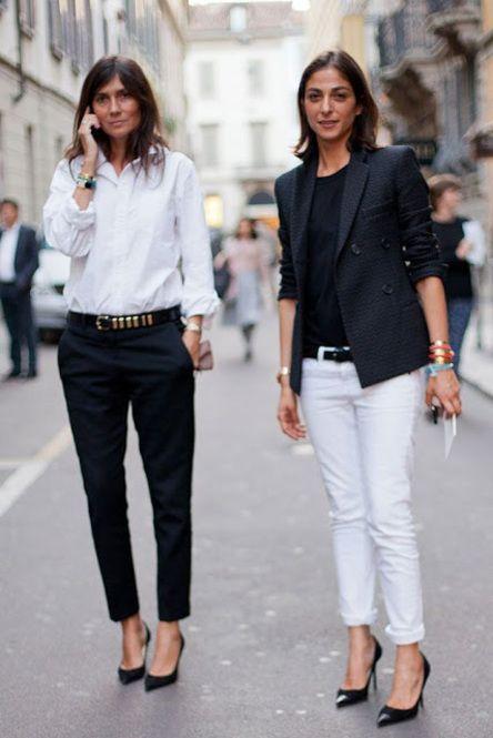 セクシーなマスキュリンがエマニュエル流。白いシャツ、パンツ、ポインテッドトゥといったベーシックなアイテムをベースに、かっこいいアイテムを加えるのが彼女のスタイル。