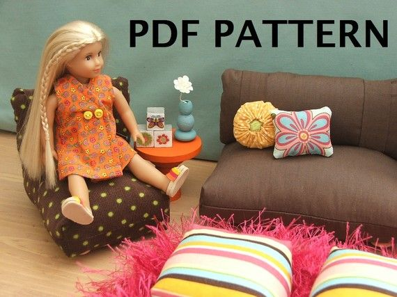 PDF Doll furniture 6.5 inch MINI DOLL (DOES NOT FIT THE 18 INCH DOLL)  Any little girl would love this little set! This would also be adorable if made out of up cycled denim!  This pattern fits the American Girl mini (6.5 inch). This is not a finished product, none of the items pictured are included. It comes with the pattern for the bed, headboard, bedspread, chaise, chair, sofa, ottoman, rug and pillows. It gives instructions to make the table, floor lamp, table lamp, clock, vase…