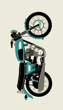 BLUE 1970 MOTORCYCLE « Limited Edition Art Posters « Methane Studios