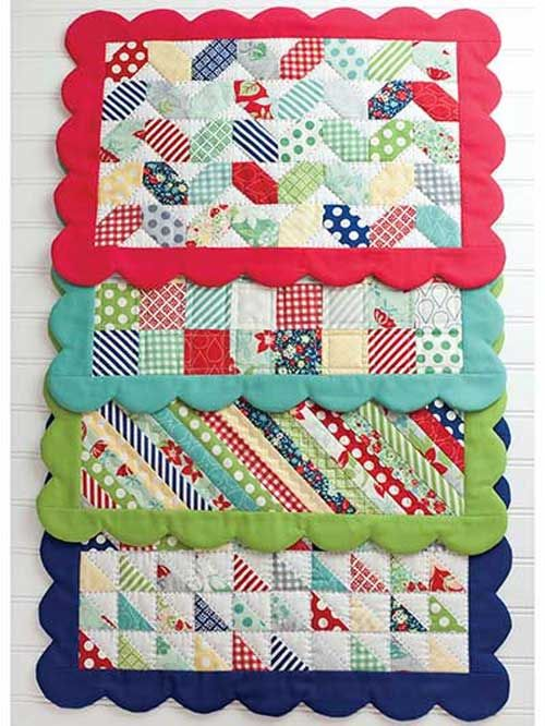 These scrappy placemats are a great way to use up your small fabric scraps.