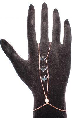 925 ayar Gümüş Kırlangıçlı ve Taşlı Şahmeran Bileklik, Pembe - Siyah