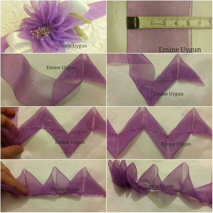 МК цветочка из единой ленты ш. 5 см. https://m.facebook.com/Eli%C5%9Fi-Koza-Emine-Uygun-1479900952254451/