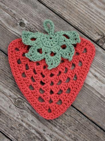 Granny Strawberry Dishcloth | Yarn | Free Knitting Patterns | Crochet Patterns | Yarnspirations