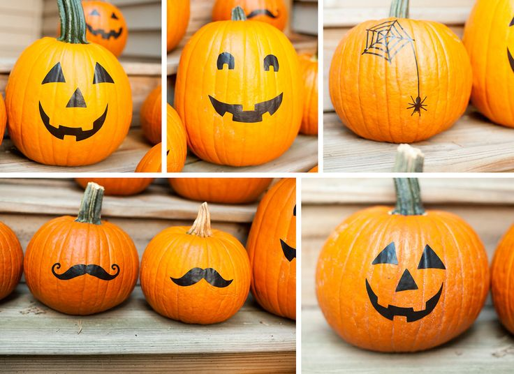 Halloween Pumpkin Stickers, pumpkin decals, no carve pumpkin Decor, set of 7. $9.75, via Etsy.