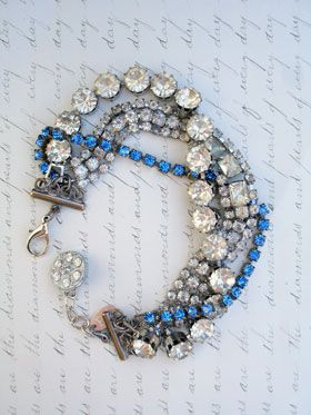 It's Complicated # 1 - Three Strand Repurposed BraceletOne bracelet has clear prong-set stone and actually has 3 separate strands. One is a single strand of royal blue prong set stones. The last one is clear prong set bracelet with rhinestones on high bezels. They are very impressive! All together...5 strands!...