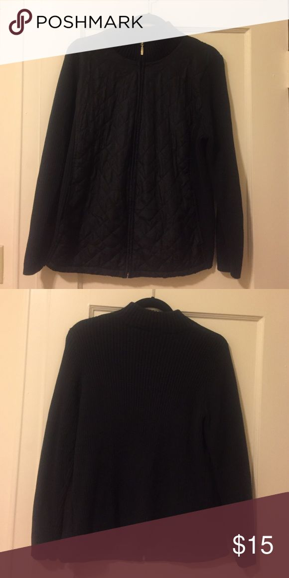 Black zip-up, Size 1x Black zip-up, back and sleeves are 100% Cotten and front is 100% polyester, only worn once croft & barrow Tops Sweatshirts & Hoodies
