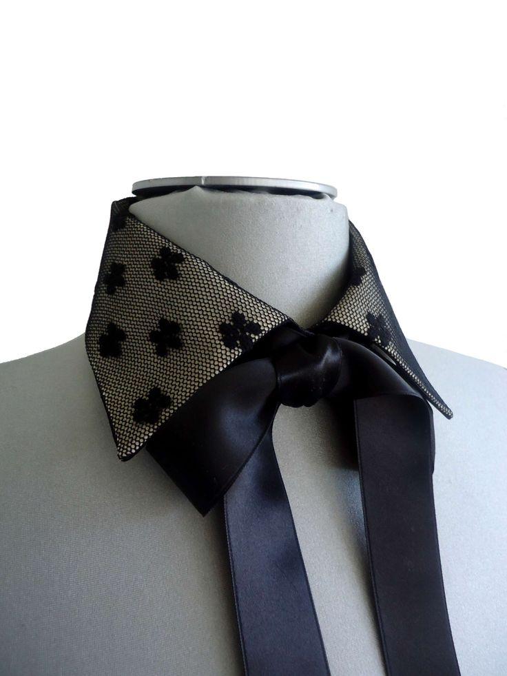 Col chemise amovible Danil en voile & satin noir