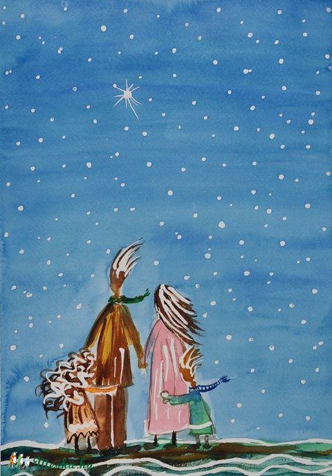 Négyen <3, Dekoráció, Baba-mama-gyerek, Otthon, lakberendezés, Kép, Meska