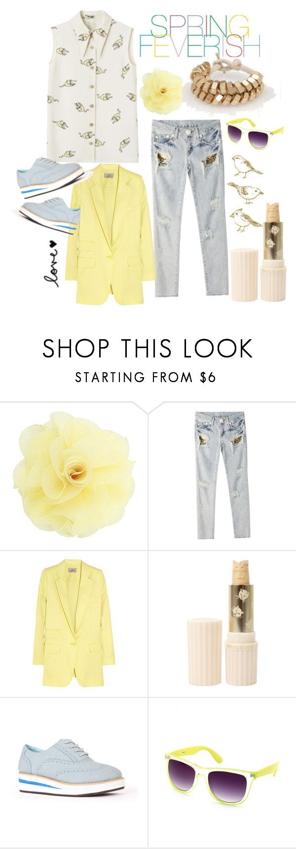 """""""Yellow fever"""" by cara-kitty ❤ liked on Polyvore featuring Dorothy Perkins, Miu Miu, Preen, FEVERISH, Paul & Joe, Charlotte Russe, ripped jeans, blue, gold and colour"""