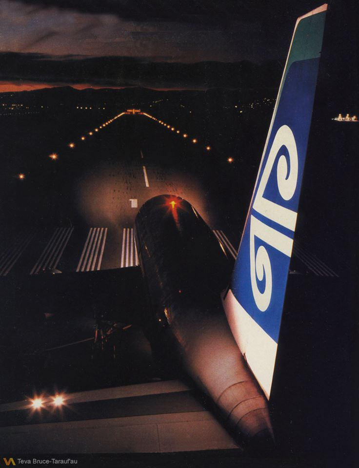 Air New Zealand Boeing 767-219/ER poised for an early morning take-off towards the Port Hills from Runway 11 at Christchurch-International, circa 1986. (Photo: Teva Bruce)