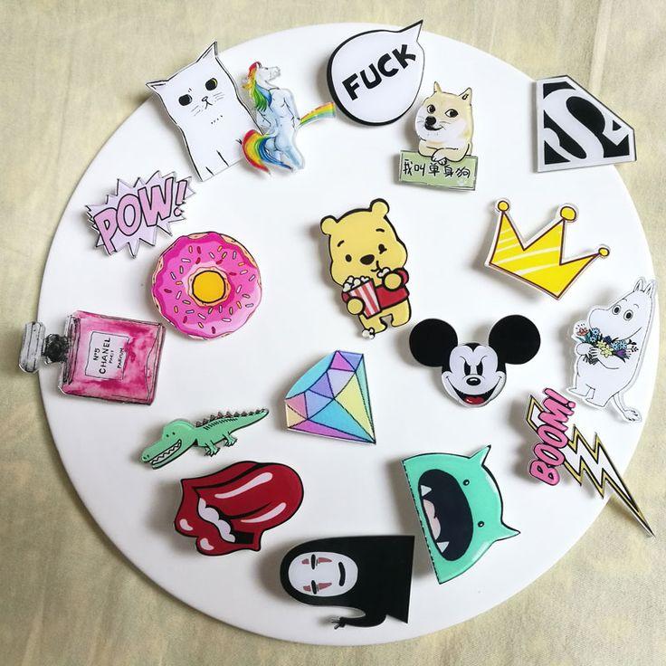 1 PCS Kawaii Icon Pengiriman Gratis Akrilik Pin Badge Kartun Ikon Ransel Dekorasi Lencana