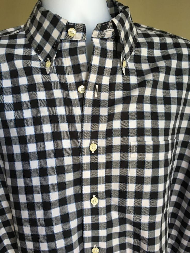 Brooks Brothers Non Iron Black Checker Men's Large Cotton Shirt  #BrooksBrothers #ButtonFront