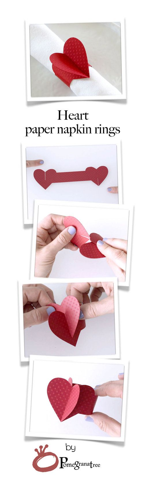 Valentines Day Decor, Red Heart Paper Napkin Rings, Party Decorations, Wedding Decor, Romantic Table Decor, Red Napkin Rings Set of 4 HTD01  These napkin rings are a beautiful added touch for your special occasion and perfect for decorating any party table.  These HEART shaped napkin rings are cut out of premium heavy paper, with delicate dots texture. Napkin rings are sold in sets of four. Napkin rings are shipped flat. Easy assembly - no glue or tape needed! Size:  Flat: 7.
