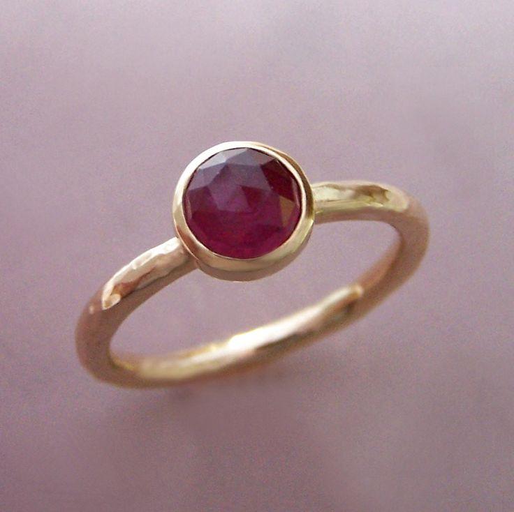 Rose Cut Ruby Ring in Hand Hammered 14k Gold   Elizabeth Scott Jewelry