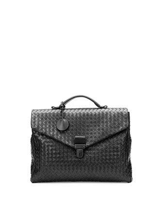 Men\'s Small Woven Leather Briefcase, Black by Bottega Veneta at Neiman Marcus.