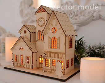 Souvenir house in European style, drawing, laser cut vector model, vector template for laser cutting, cnc file, instant download