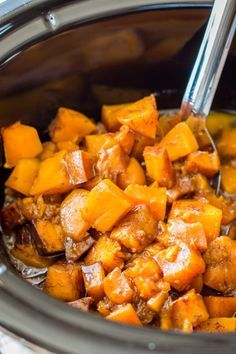 Homemade Slow Cooker Cinnamon Sugar Butternut Squash. This sweet and buttery deliciousness is perfect as any side. Our mouths are watering with this one.