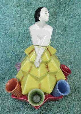 Vintage Art Deco Lady Decanter and Shot Glass Holder Colorful Ceramic RARE | eBay