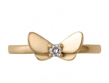 9ct Gold Butterfly Ring with Diamond