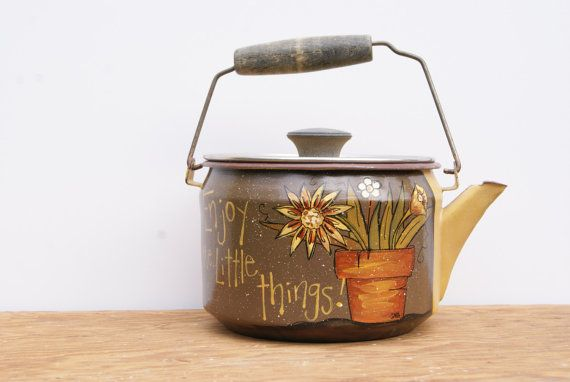 Vintage Tea Kettle Hand Painted Yellow Tea Kettle Cottage Chic Kitchen Decor Shabby Chic Spring Decor Enjoy The Little Things Rustic Kettle