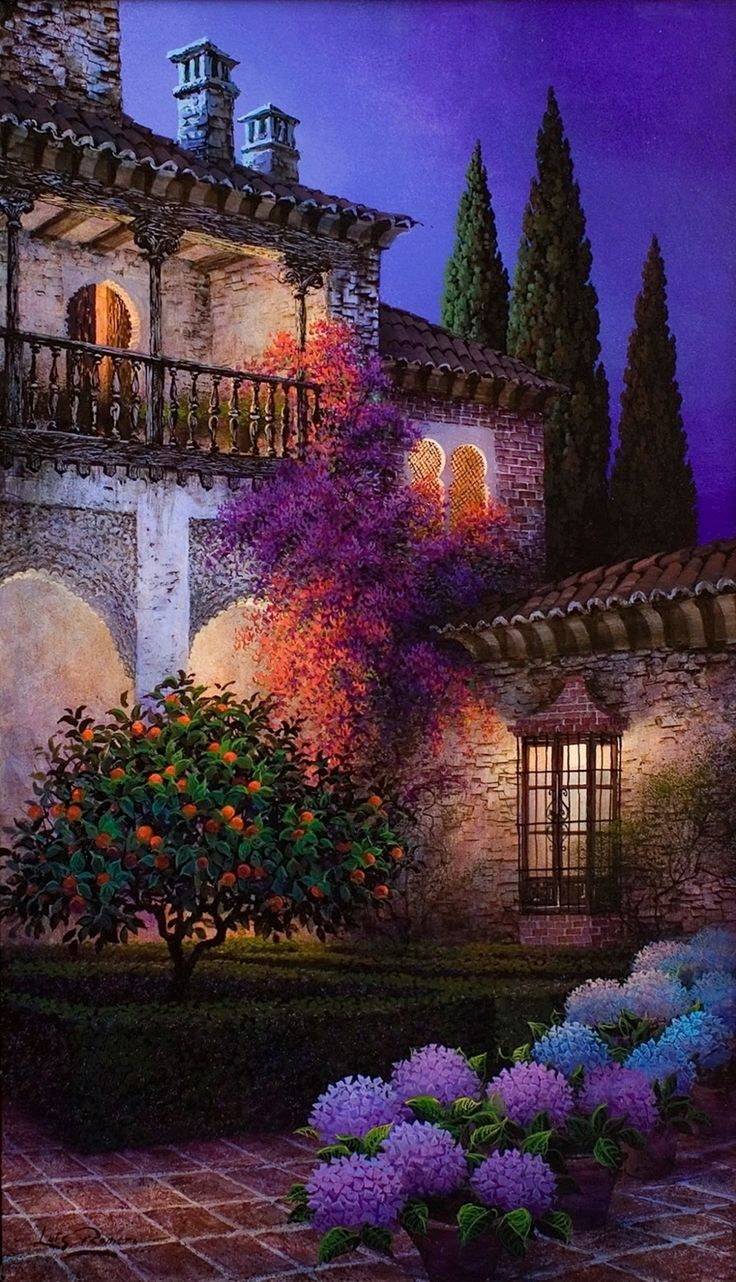 Colorful courtyard • artist: Luis Romero on Tutt'Art@