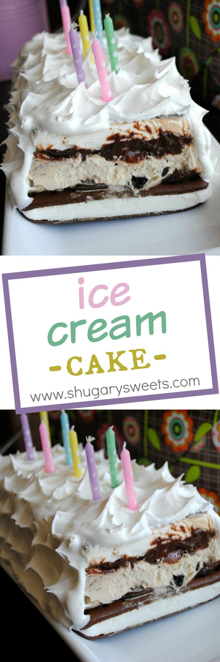 Ice Cream Cake: easy cake made from ice cream sandwiches, hot fudge and whipped cream!