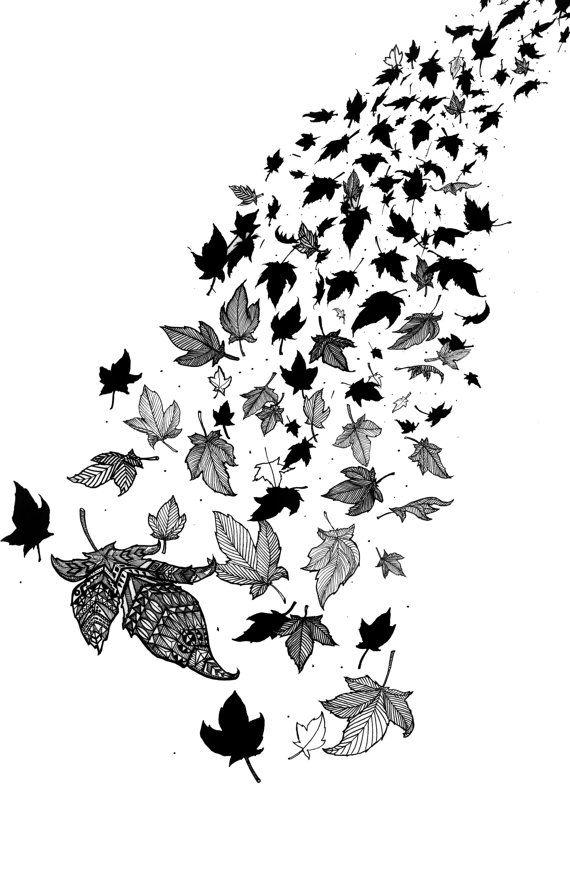 """Tattoo idea -""""Cascade"""" Falling Leaves Pattern Leaf Autumn ..."""