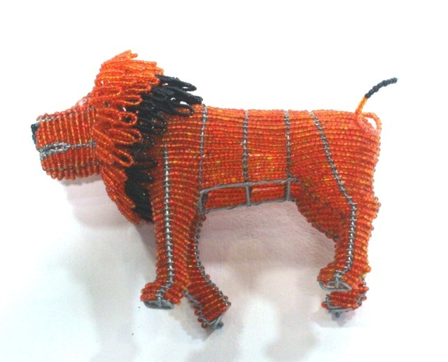 Lion Wire Beaded Artwork - 12.5 Inch X 7 Inch