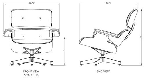 The library lounge chair dimensions compare to the herman for Chaise eames dimensions