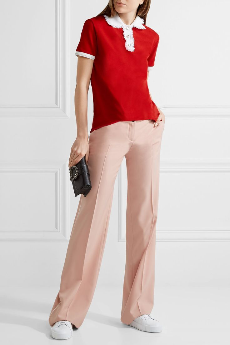 Miu Miu | Lace-trimmed cotton-piqué polo shirt | NET-A-PORTER.COM