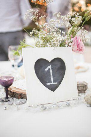 Номера столов на грифельной доске в рамке в виде сердца