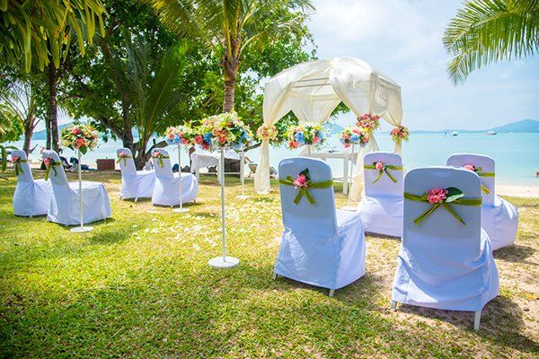 Small Wedding Ceremony Set Up Near The Ocean