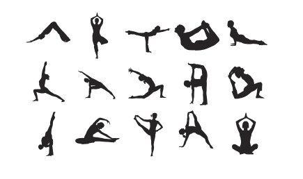 Dies ist für eine Gruppe von 15 Stempel auf 3/4 Größe Holz Halterungen montiert.    Yoga Positionen: Hund, Krieger, Lotus ...