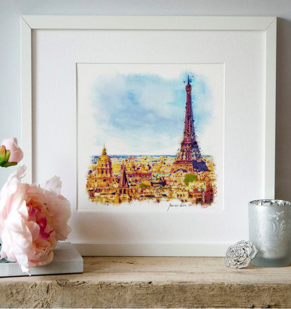 Paris Aerial view Watercolor painting Wall art by Artsyndrome