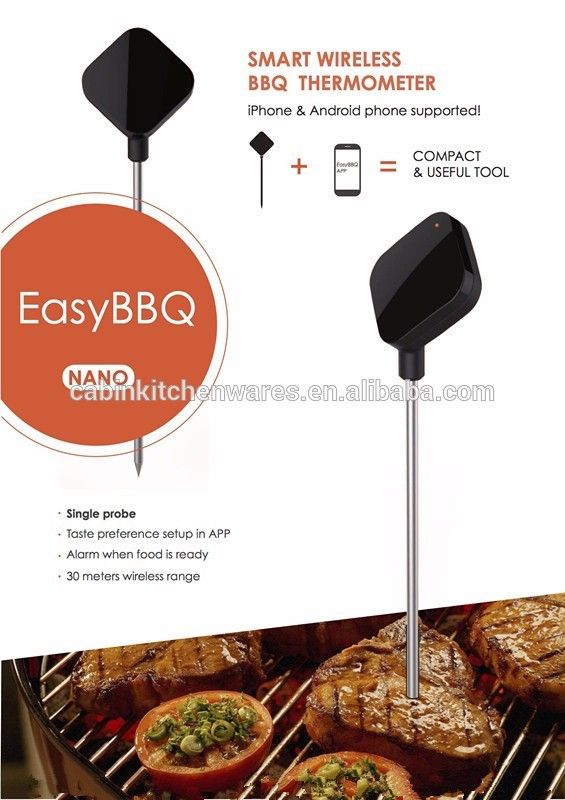 Wireless Bluetooth Instant Read Digital bbq Cooking Thermometer with easy barbecue free app