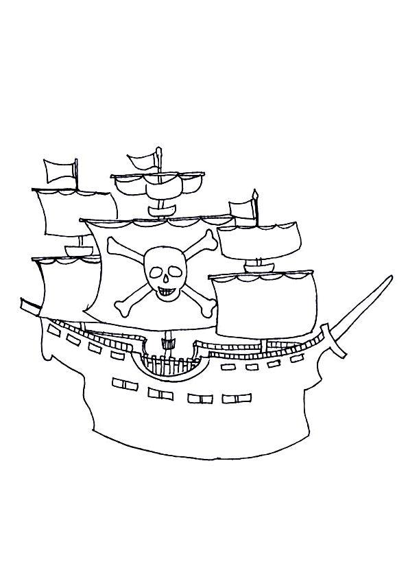 Coloriage d un dessin de bateau de pirates dot de trois - Bateau pirate coloriage ...