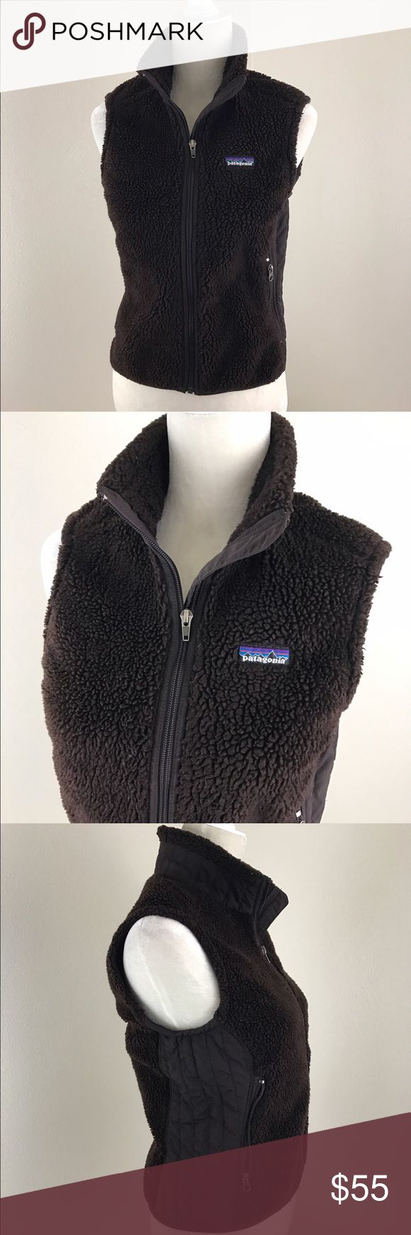 Fuzzy Patagonia Fleece Vest Brown Fuzzy Patagonia dark brown zip up vest with pockets. Ribbed detail on the sides and turtle neck height collar. Used but in good condition. Patagonia Jackets & Coats Vests