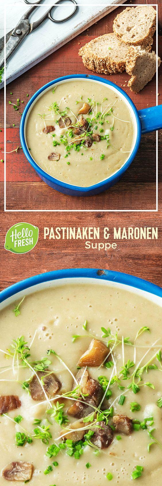Pastinaken-Maronen-Suppe mit frischen Kräutern und knusprigem Baguette.  Vegetarisch // Schnell // Gesund