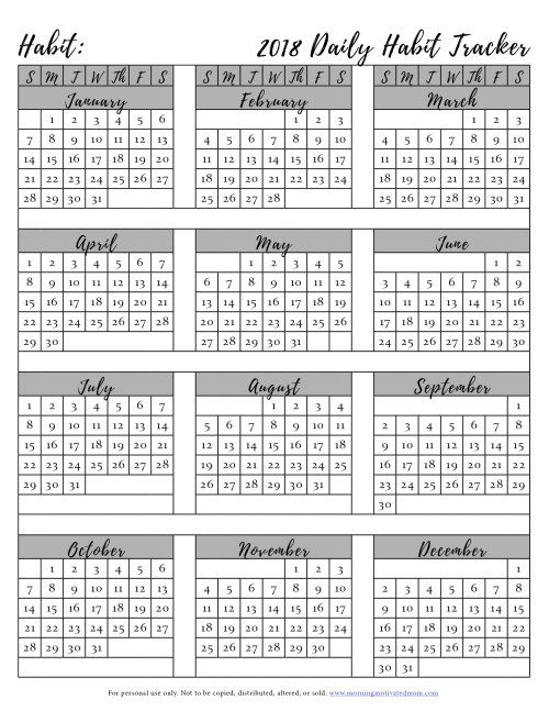 Free Printable Habit Tracker. Create a habit and do it every day. Track it on this free printable habit tracker. Don't break the chain! | 2018 Printable Calendar