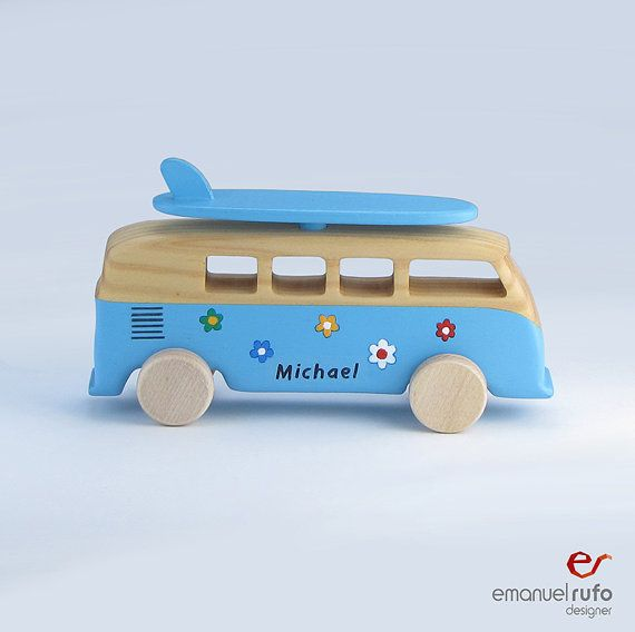 Christmas Gift - Personalized Wooden Car - Wooden Toy for Boys, Kids, Men - Handmade, Modern Wooden Toy - Gift For a Boy - Bus VW Kombi Surf  Your child will play around the house with this fantastic Wooden Toy VW Kombi Surf. Let him/her imagine a story where this eco friendly toy is the main protagonist. This is a completely safe toy, entirely handmade in natural wood, with high quality details and finished by hand with non-toxic acrylic paints and acrylic varnish especially suitable for…