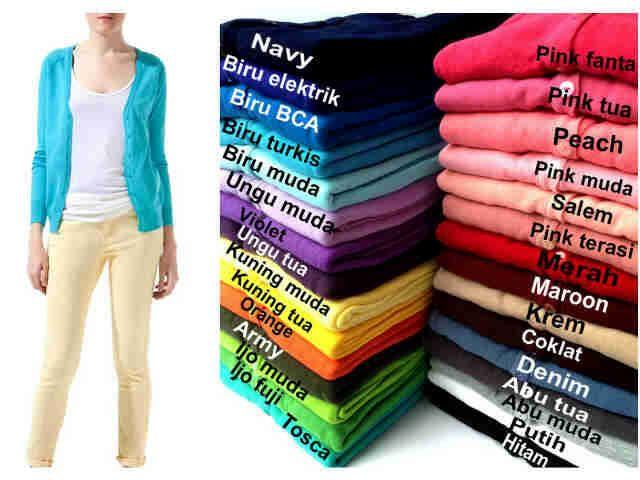 """Cardi ABG Basic"" Ready Stock (produksi terus) Harga Rp 38000 Bebas pilih warna (30 Warna) Min 3pcs"