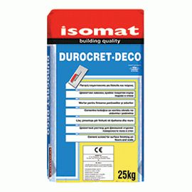DUROCRET-DECO: Cement mortar for surface finishing on floors and walls by ISOMAT.  Polymer-modified, fiber-reinforced, cement mortar. It provides excellent adhesion to the substrate, water repellency and abrasion resistance. For interior and exterior use in a variety of applications, on floors and walls, wherever an aesthetic intervention is needed (e.g. Cycladic architecture) in homes, shops, hotels etc.